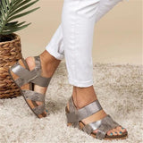 Sofiawears Women Comfy Slip-on Wedge Sandal