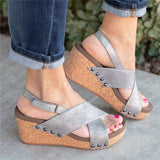 Sofiawears Women Vintage Wedge Shoes Sandal