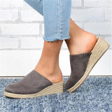 Sofiawears Mule Espadrille Wedges Suede Closed Toe Women Sandals