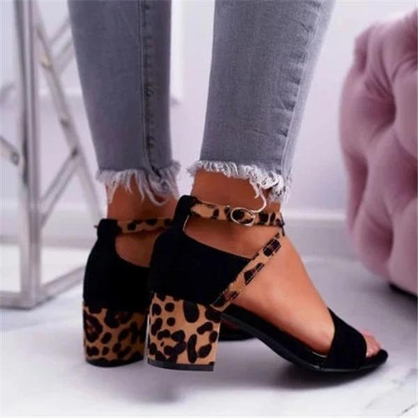 Sofiawears Chunky Heel Artificial Suede Adjustable Buckle Leopard Sandals