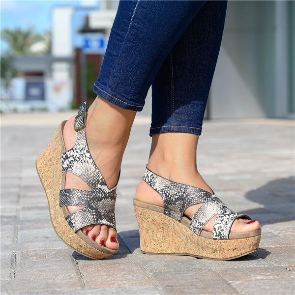Sofiawears Spotted Cheetah Cork Heel Wedges Sandals