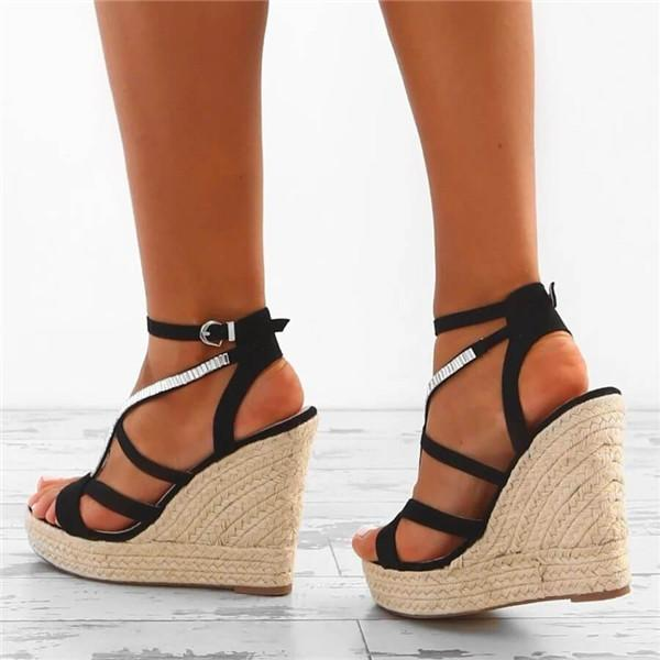 Sofiawears Fashion Cross Strappy Wedge Sandals