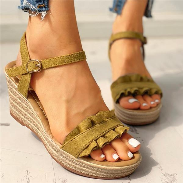 Sofiawears Suede Frill Hem Espadrille Wedge Sandals