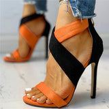 Sofiawears Colorblock Crisscross Thin Heeled Sandals