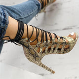 Sofiawears Open Toed Lace-Up Thin Heeled Sandals