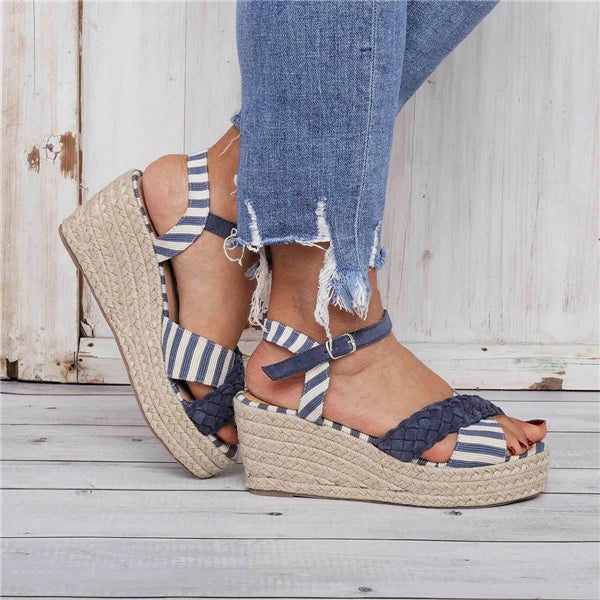 Sofiawears Stripes Espadrilles Buckle Strap Wedge Sandals