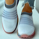Sofiawears Striped Breathable Casual Sneakers