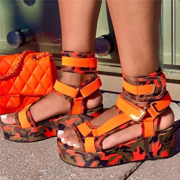 Sofiawears Open Toe Velcro Platform Strappy Serpentine Sandals