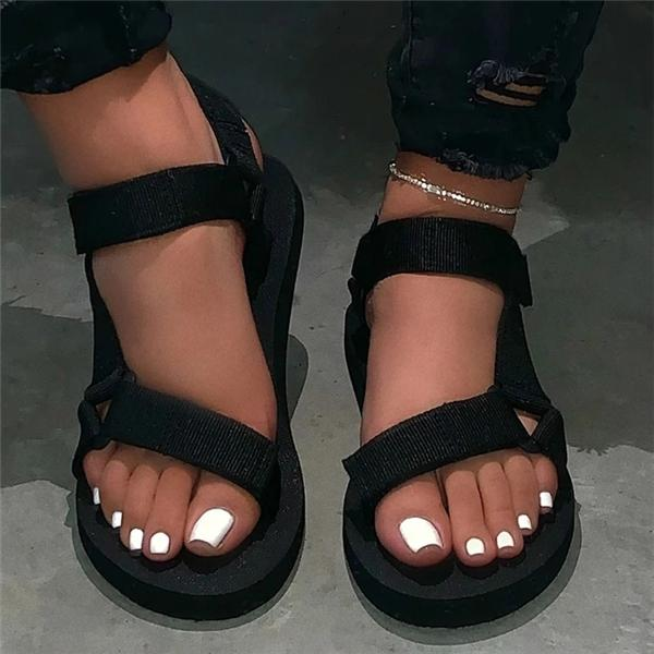 Sofiawears Open Toe Velcro Casual Casual Sandals