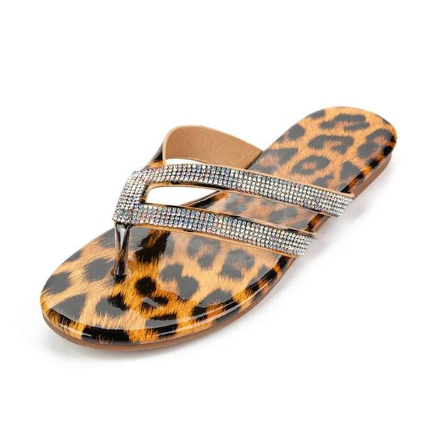 Sofiawears Thong Flat With Slip-On Cowhells Leopard Slippers