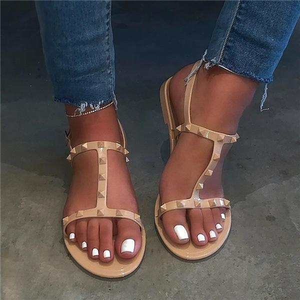 Sofiawears Block Heel Buckle Strappy Open Toe Rivet Casual Sandals