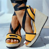 Sofiawears Crisscross Bandage Colorblock Wedge Sandals