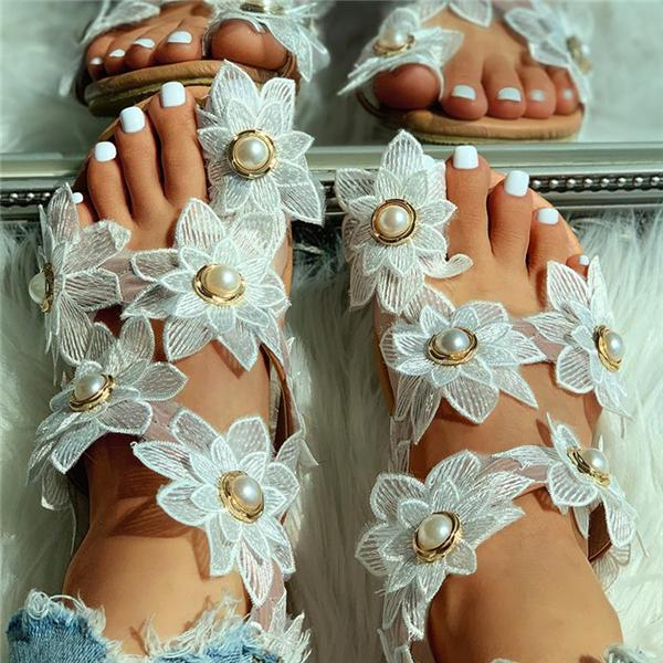 Sofiawears Toe Ring Flower Design Flat Sandals