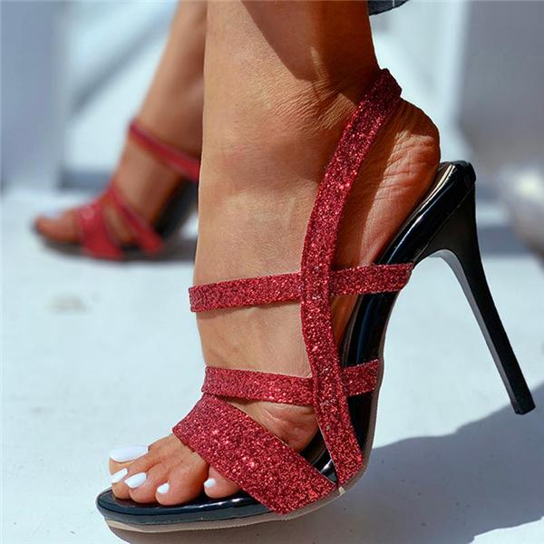 Sofiawears Solid Sequins Thin Heeled Sandals