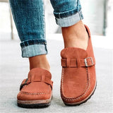 Sofiawears Women Casual Comfy Leather Slip On Sandals