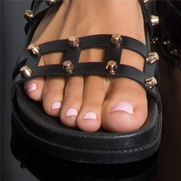 Sofiawears Holiday Flat Slip On Studded Sandals