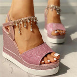 Sofiawears Bead Studded Detail Platform Wedge Sandals