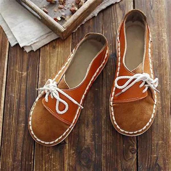 Sofiawears Vintage Round Toe Brown Loafer Sneakers