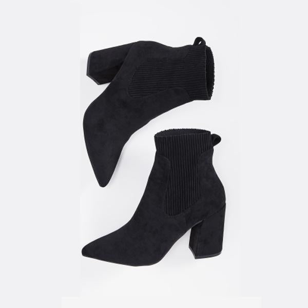 Sofiawears Ladies Leather Square Ankle Boots High Heels