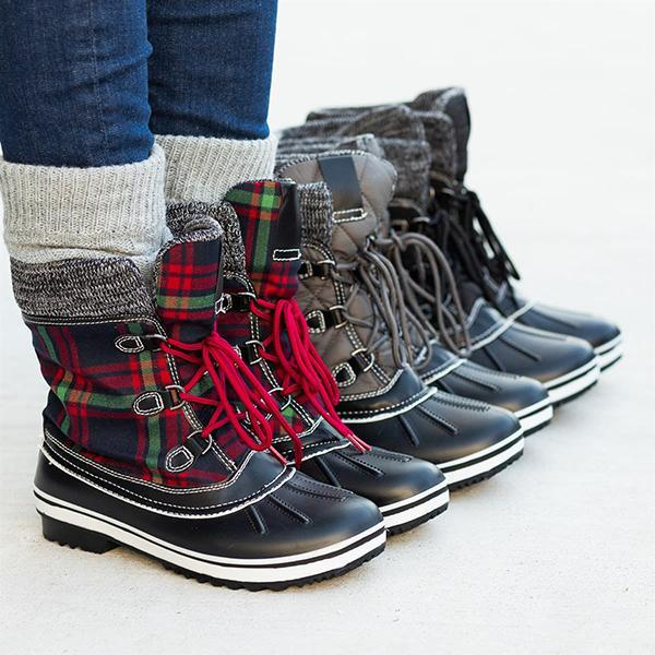 Sofiawears Casual Water-Resistant Rubbe Lace-up Boots