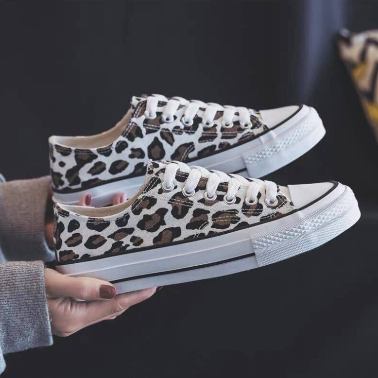 Sofiawears Leopard Printed Lace-Up Sneakers