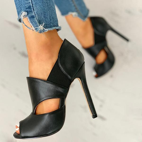 Sofiawears Solid Hollow Out Design Peep Toe Thin Heels