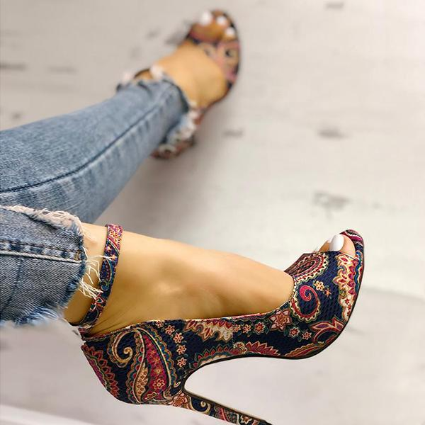 Sofiawears Ethnic Print Peep Toe Ankle Strap Thin Heeled Sandals