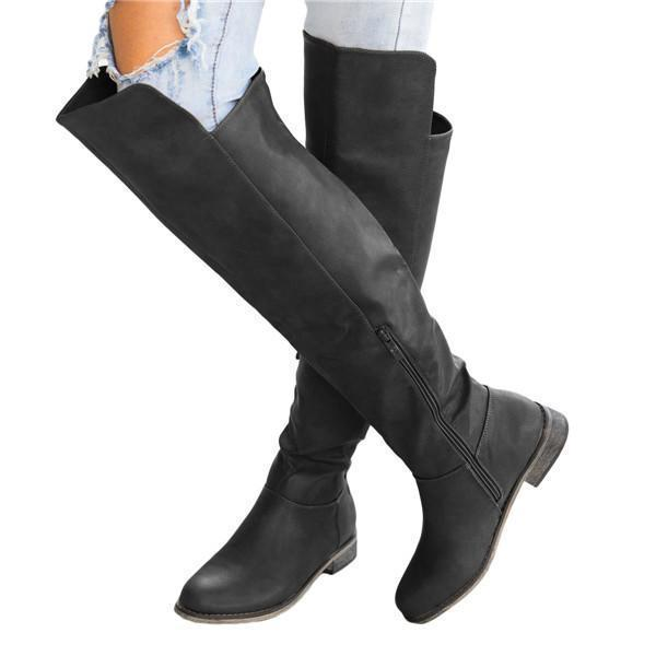 Sofiawears Fashion Stretchy Thigh High Flat Heel Boot
