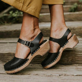 Sofiawears Ankle Strap Chunky Heel Low Platform Sandals