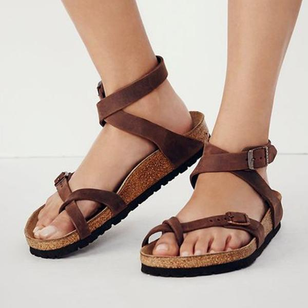 Sofiawears Cross Round Toe Metal Buckle Flats Sandals
