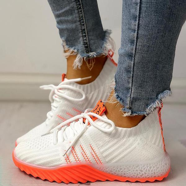 Sofiawears Colorblock Knitted Breathable Lace-Up Sneakers
