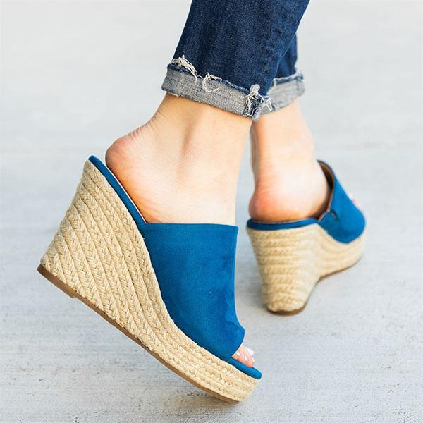 Sofiawears Chic Slip-On Espadrille Wedges Sandals
