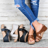 Sofiawears Crisscross Toe Wedge Sandals