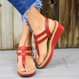 Sofiawears Adjustable Buckle T-Strap Wedge Sandals