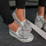 Sofiawears Women Shining Rhinestone Slip-on Loafers&Sneakers with Cute Bowknot