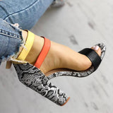 Sofiawears Contrast Color Snakeskin Buckled Chunky Heeled Sandals