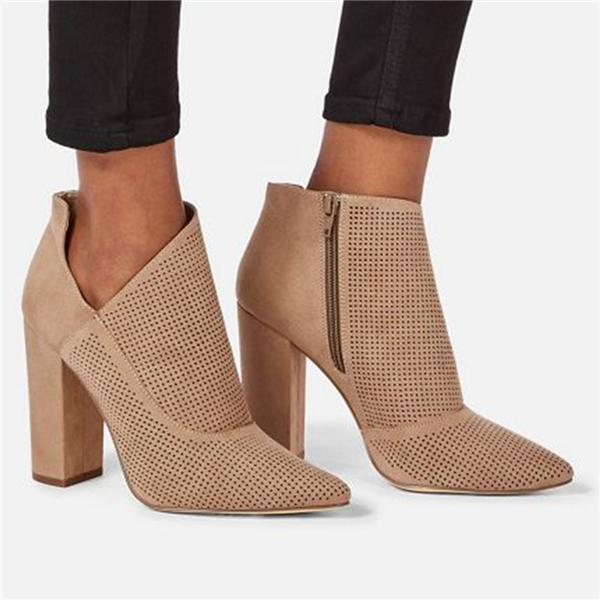 Sofiawears Cutout Mesh-Design Pointed Zipper High Heels