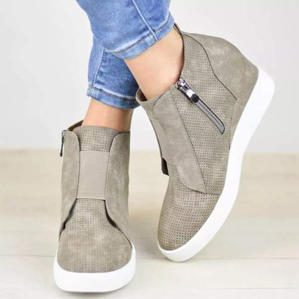 Sofiawears Zipper Wedge Breathable Sneakers