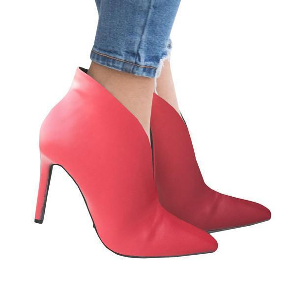 Sofiawears Womens Pointed Toe Plunge Cut-Out Stiletto High Heel Ankle Booties Short Boots