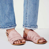 Sofiawears Peep Toe Buckle Flat Sandals