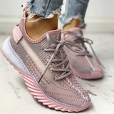 Sofiawears Net Surface Breathable Lace-Up Yeezy Sneakers
