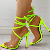 Sofiawears Transparent Strap Lace-Up Thin Heels