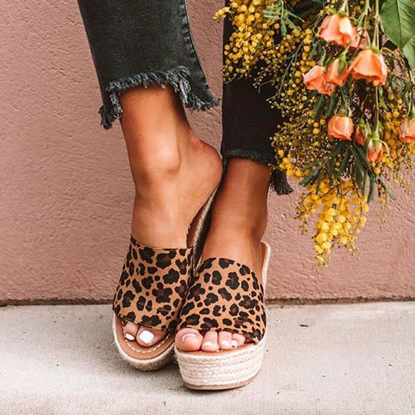 Sofiawears Fashion Leopard Wedge Sandals