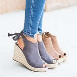 Sofiawears Women Back-Knot Wedges Sandals