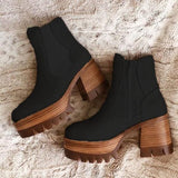 Sofiawears Fashion Faux Suede Zipper Boots