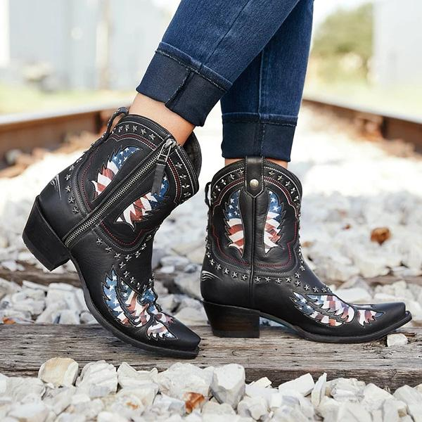Sofiawears Patriotic Pull-On Western Cowgirl Boots
