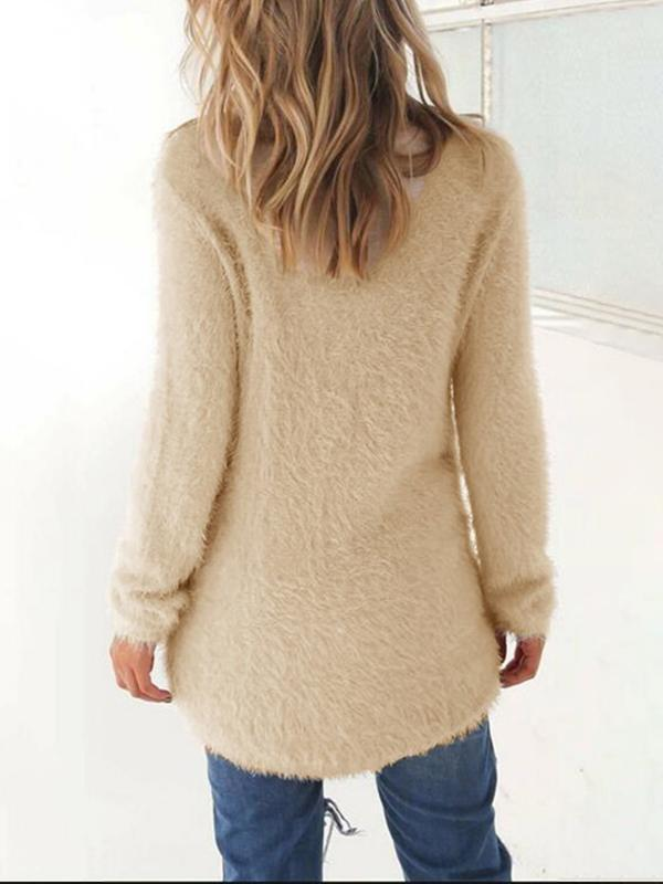 Sofiawears Winter Daily Warm Solid Sweater
