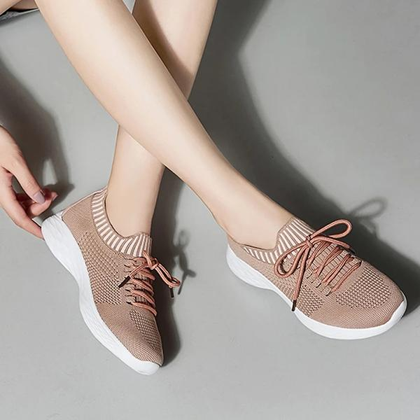Sofiawears Daily Breathable Lace-Up Knitted Sneakers