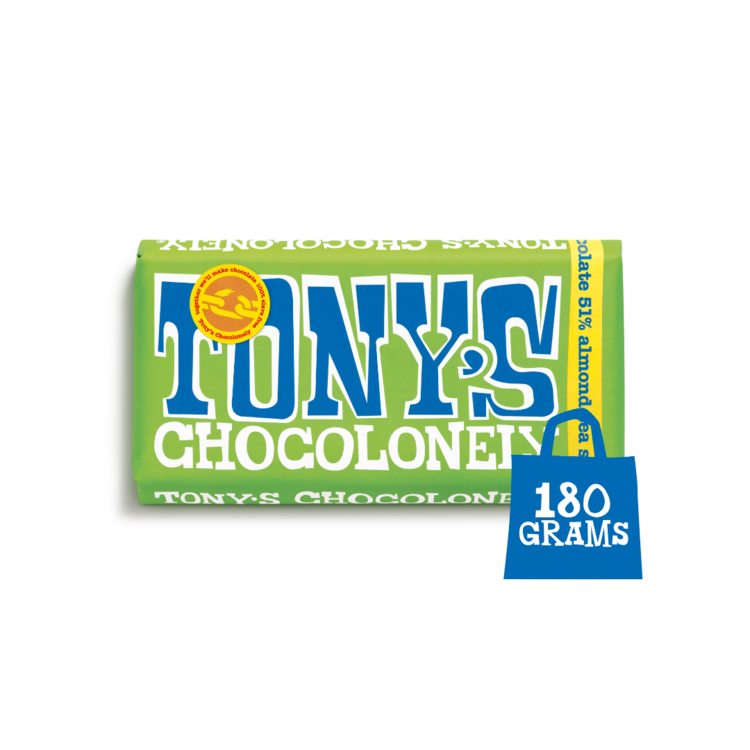 Tony's Chocolonely Dark Almond Sea Salt 32%  chocolate, Sweet Shop Sweet Shop Magnificent Marrow