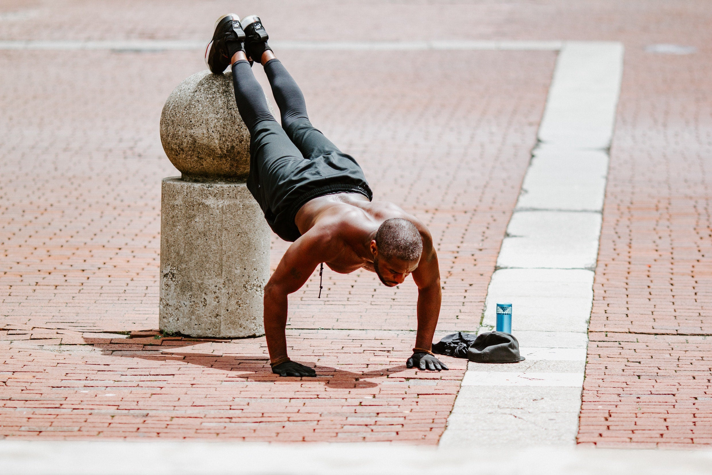 Man doing elevated push ups